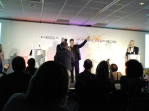 Dan Livingstone collecting his award